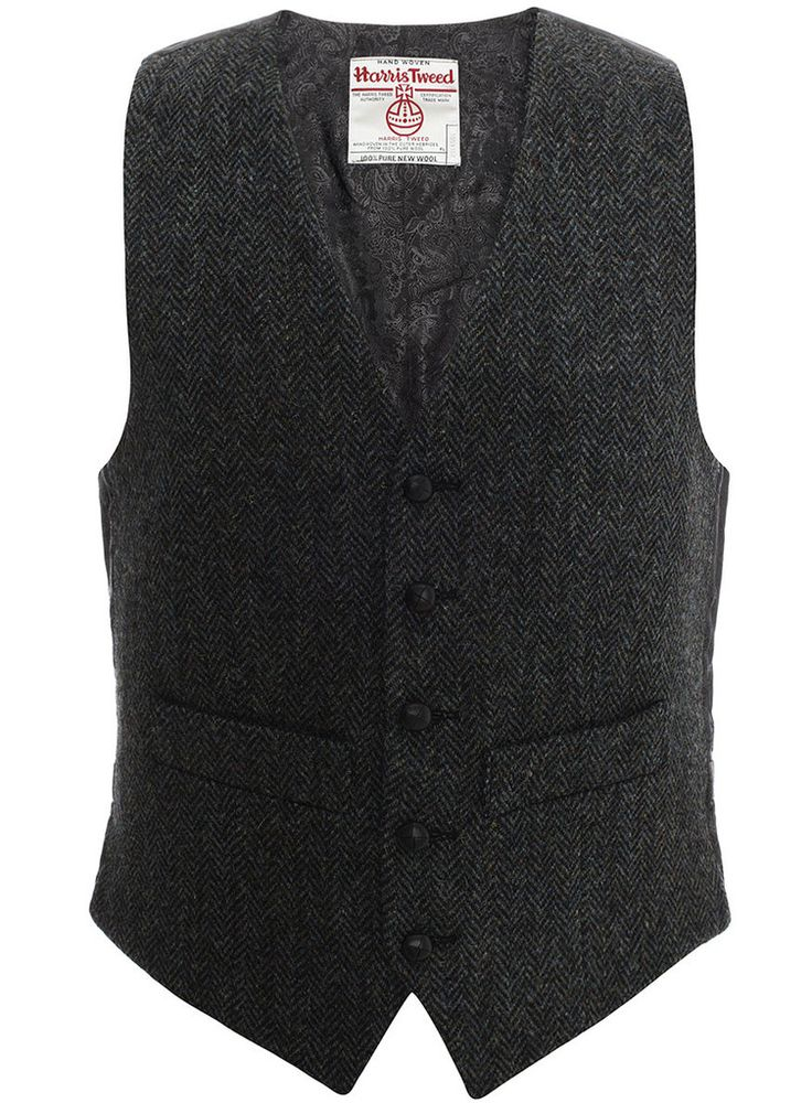 Iain Waistcoat in Black and Petrol Blue | Harris Tweed