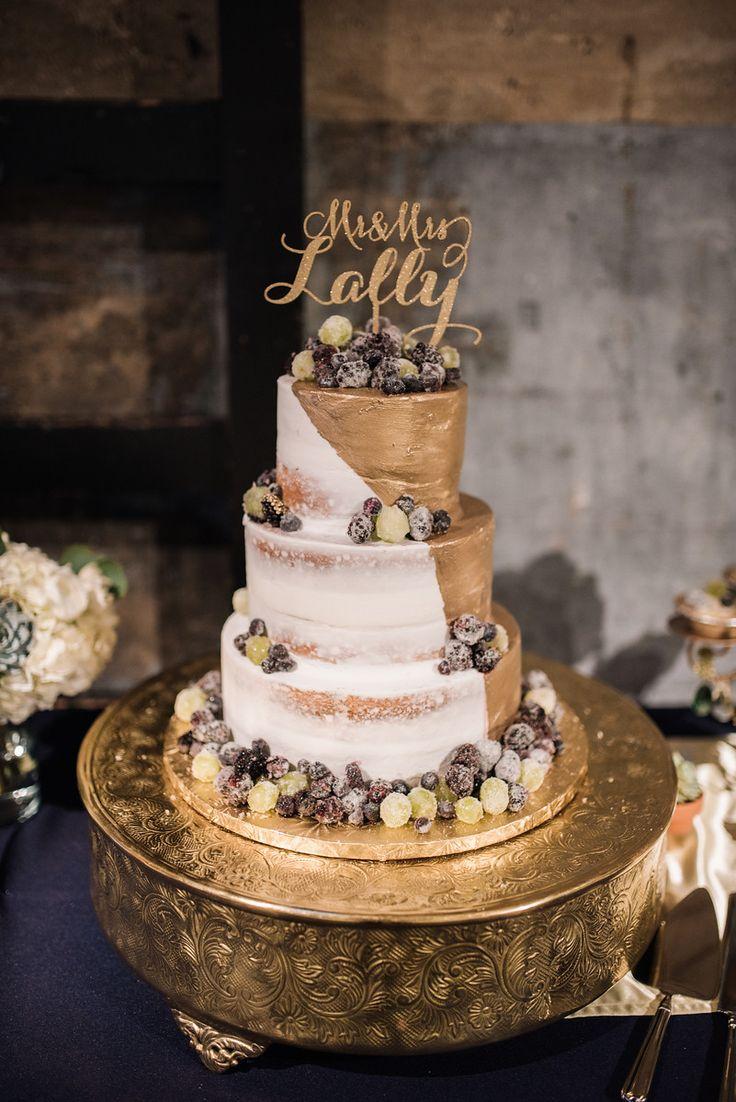 Dallas Wedding  Navy Gold and White Wedding  Dessert Table  Gold Naked Cake  Jenny Layne