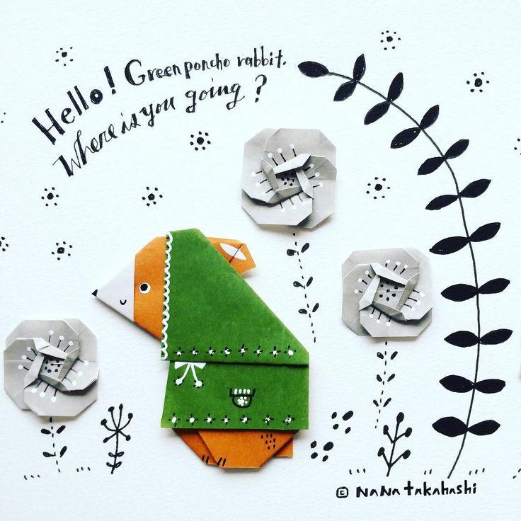 さむなってきたな〜 It's getting cold  Where are you going? ・ ・ #origami #papercraft #illustration #paperflower #rabbit #poncho #おりがみ #イラスト #ペーパークラフト #ペーパーフラワー #うさぎ #絵本 #しんせつなともだち ふう #たかはしなな