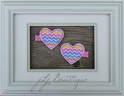 Chevron Heart Hair Clips -$5.00 for pair available on jLj Bowtique