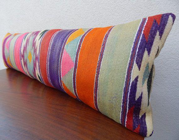 14 x 48 Extra Long Bed Bolster Pillow,Bedroom Decor Orange Mint Green Pink Bedding Kilim Pillow,Bohemian Bedding,Hippie Bedding, Bed Lumbar