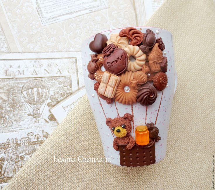 Купить Кружка Мишка на воздушном шаре - коричневый, кружка с мишкой, мишка с шоколадом и мёдом