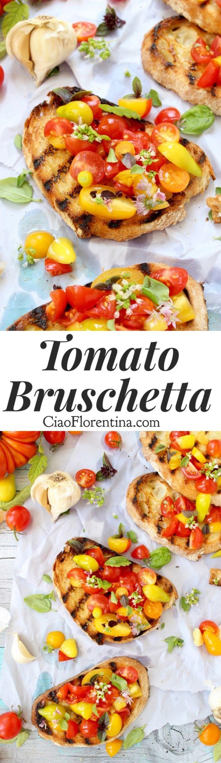 Tomato Bruschetta Recipe, the easy, authentic Italian appetizer made with heirloom tomatoes and fresh basil    | CiaoFlorentina.com @CiaoFlorentina