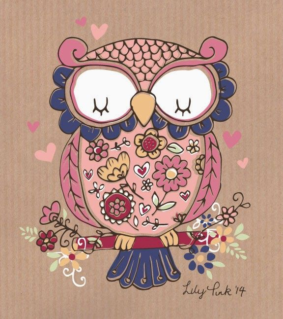 Owl art by Lily Pink Studio