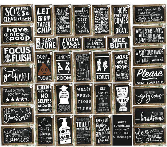 Funny Bathroom Signs Bathroom Wall Decor Kids Bathroom | Etsy – Cricut Ideas