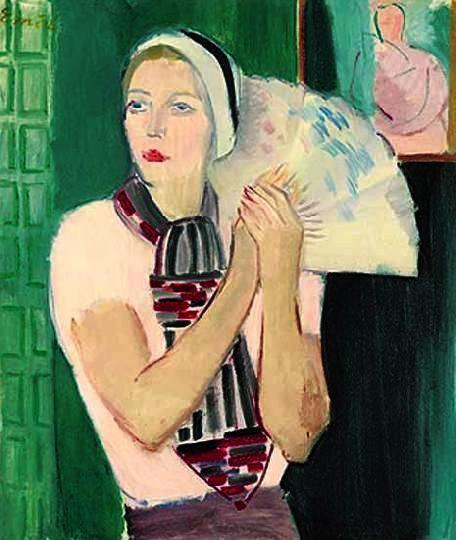 Aurél Emőd (1897-1958) Laura with fan