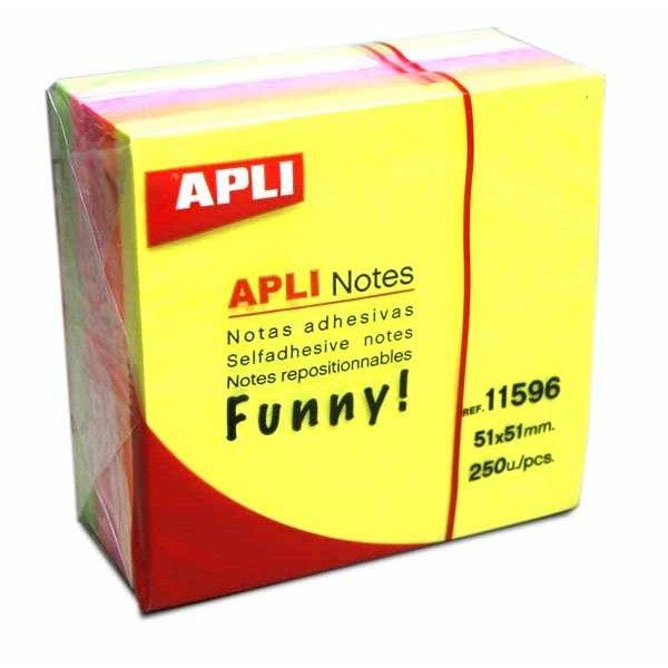 Comprar Bloc de 250h Notas Adhesivas Color Amarillo Neon 51 x 51 mm Apli 11596  #oficina #tienda #notas #indices #adhesivas #colores #rollo #bloc #taco