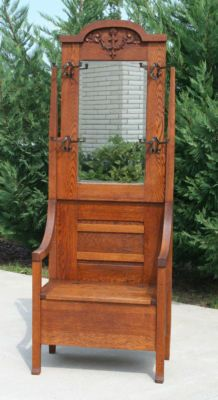 antique oak hall tree Arts & Crafts Era Oak Hall Tree Seat w/Mirror c1910 | For the Home  antique oak hall tree