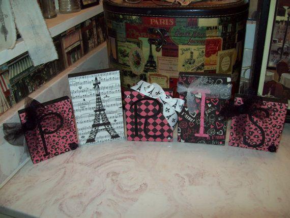 Shabby pink and black French Decorative Paris blocks Eiffel Tower on Etsy, $18.00