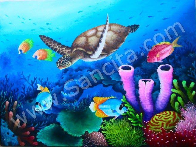 Lukisan Pemandangan Di Dalam Laut Lukisan Pemandangan Dalam Laut Dengan Teknik Melukis Menggunakan Cat Minyak Di Atas Kanvas Pm Pemandangan Gambar Lautan