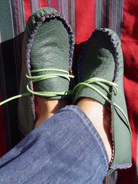 Green leather moccasins by 23Tribes on Etsy, $210.00