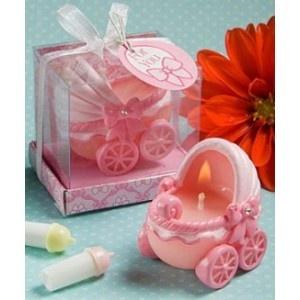 Bougies en forme de landau pour vos cadeaux aux invités sur www.mybbshowershop.com