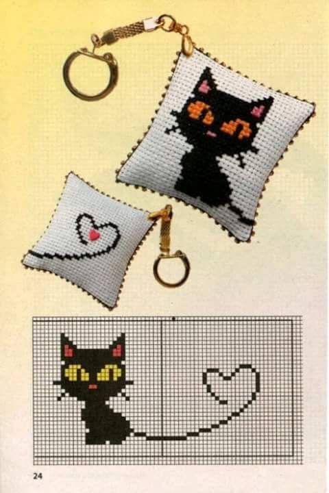 Halloween cat cross stitch.