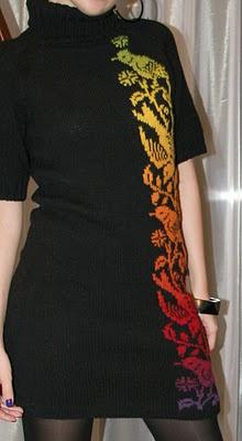 Handknit dress, great idea for detail on black