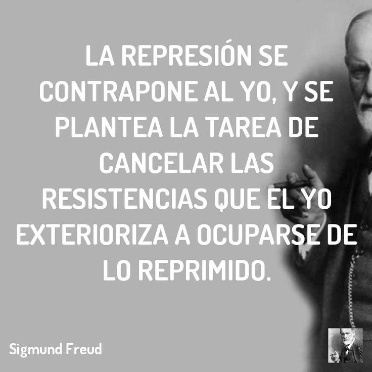 La represión se contrapone al yo, y se plantea la tarea de cancelar las resistencias que el yo exterioriza a ocuparse de lo reprimido.  #lacan #freud