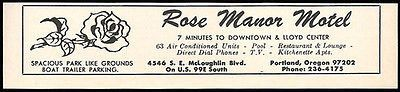 Rose Manor Motel Ad Portland Oregon AC Pool TV Apts 1964 Roadside Ad Travel