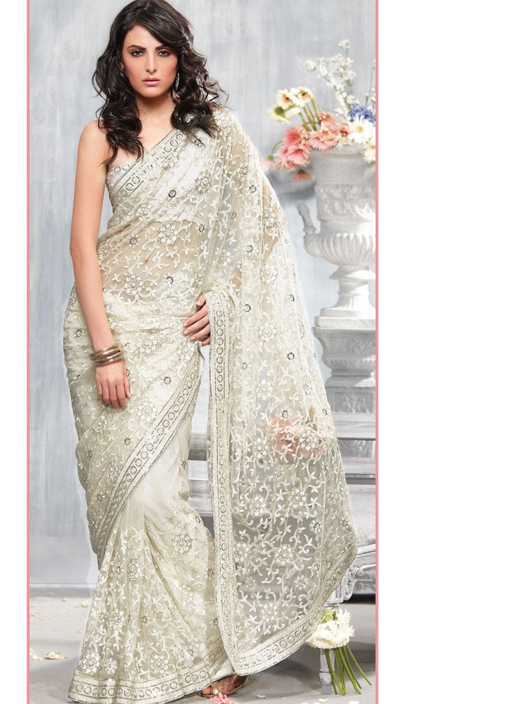 Ivory Intrigue Net Saree £65