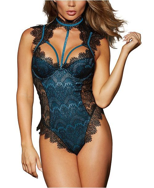 f5081e1b628d0 Dreamgirl Contrast Lace Overlay Teddy & Reviews - Bras, Panties & Lingerie  - Women - Macy's