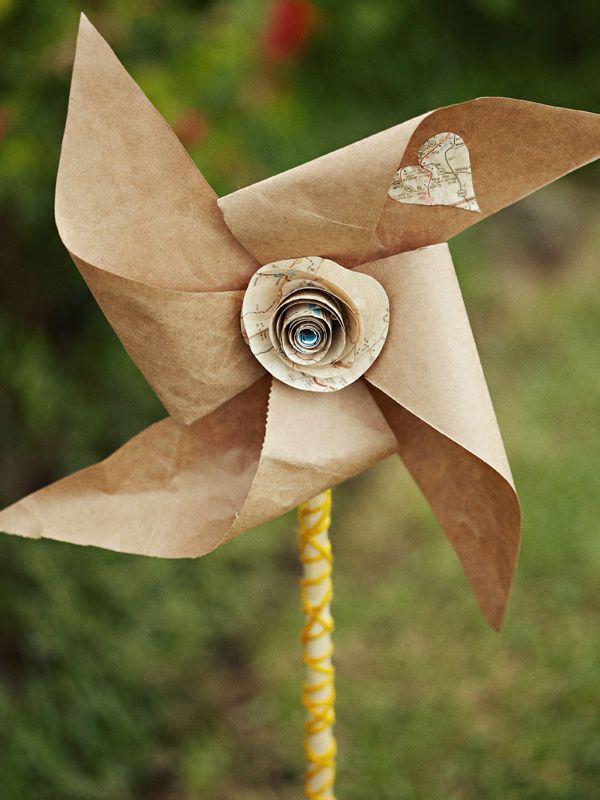 Kraft paper pinwheel.