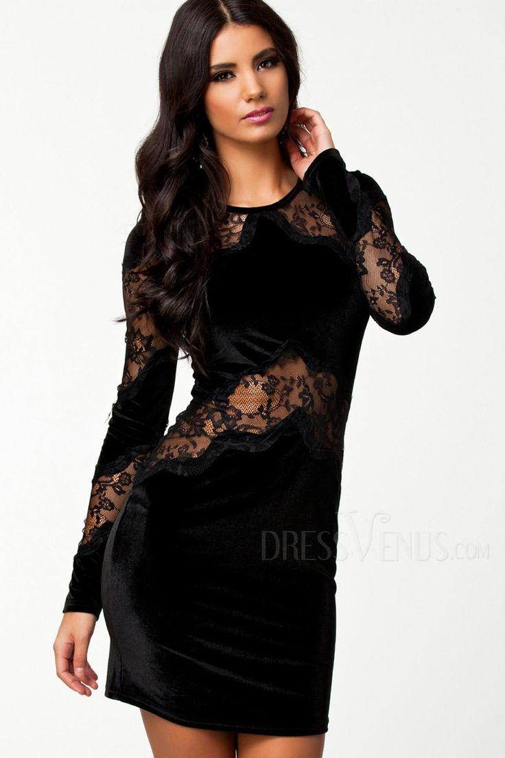 Velvet dresses 26 99 retro black velvet hollow long sleeves