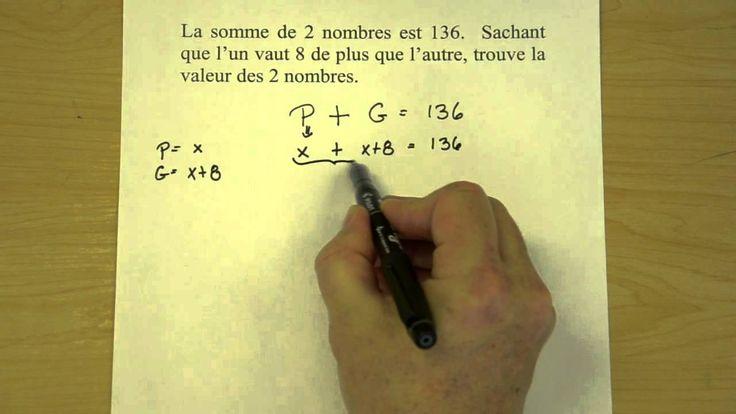 Problème d'algèbre - exemple 2