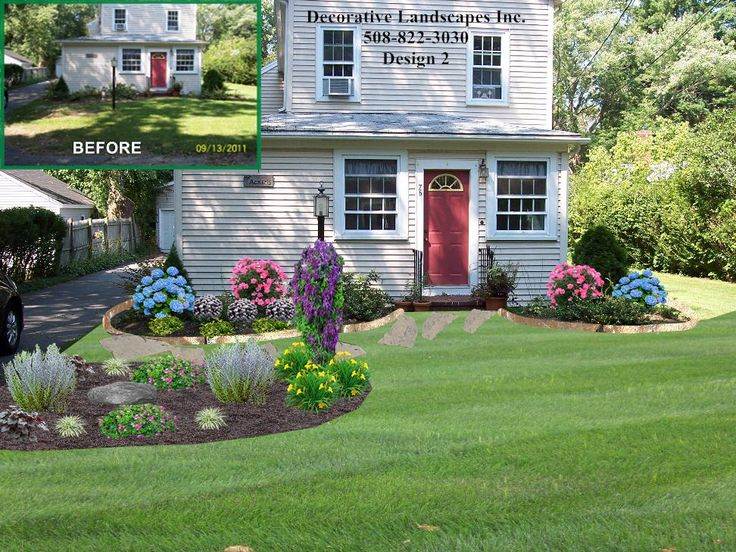 Amazing New England Front Yard Landscaping Ideas Part - 6: Front Yard Cottage Style Landscape Design With Island Bed