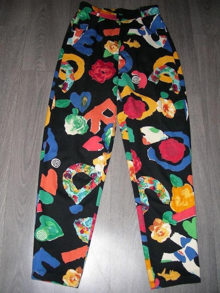Vintage 80s Louis Feraud fun black multi colour trousers print