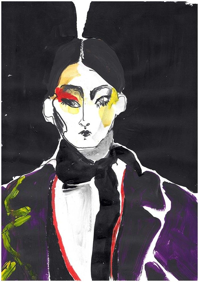 Illustrator Helen Bullock captures the drama and beauty of the latest Prada collection from Milan