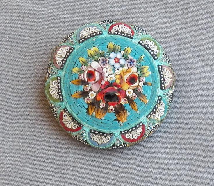 Vintage Antique Flower Bouquet Micro Mosaic Brooch Pin