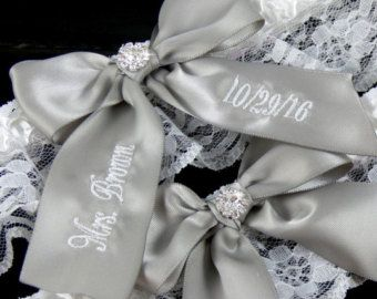 Personalized Antique White Wedding Garter Custom by EllaWinston