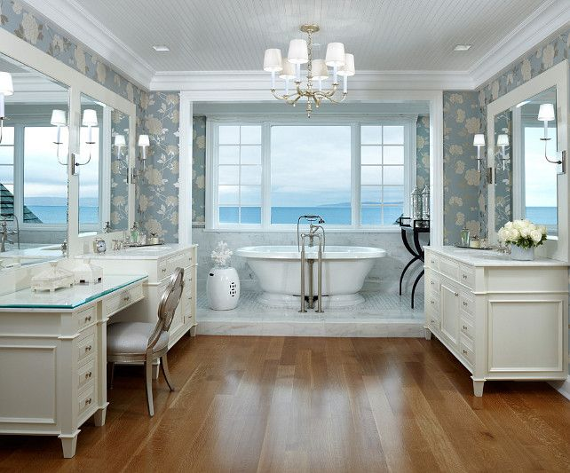 940 best images about bathrooms on pinterest white for Beach house master bathroom