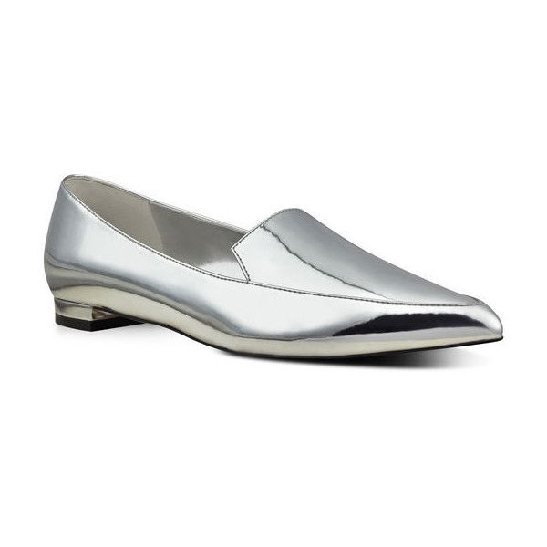 Nine West Abay Smoking Flats ($30) ❤ liked on Polyvore featuring shoes, flats, silver synthetic, ballet pumps, flat shoes, silver pointy toe flats, ballet shoes and pointy toe flats