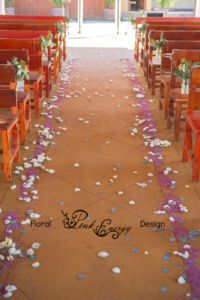 Pew flowers and aisle pettals. Floral Design & Decor by www.pinkenergyfloraldesign.co.za