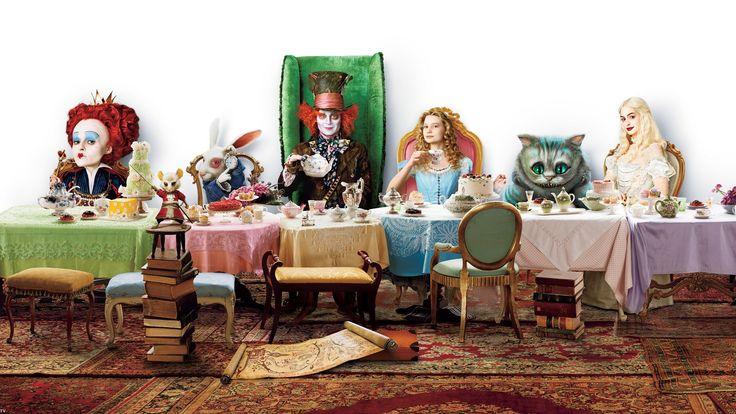 Картинка, алиса в стране чудес,  alice in wonderland,  алиса,  шляпник,  безумный,  кролик,  королева,  часы,  мышь,  чаепитие,  стол,  торт,  чайник,  чашки,  стулья,  ковёр,  карта,  гости,  ковер,  книги,  кот,  чеширский кот,  кресло, фильм, фильмы, кино