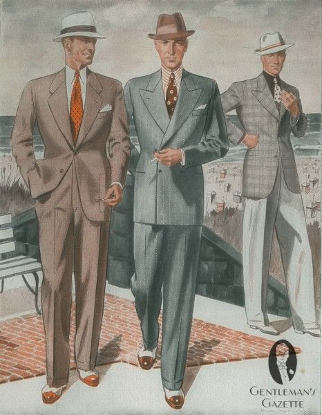 Summer suits in brown & pinstripes with spectators + odd jacket summer combination menswear 1930's-40's
