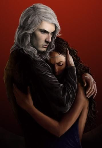 Rhaegar abrazando a su esposa Ellia Martell. Ilustración de Denkata5698