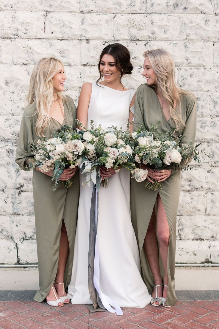 olive bridesmaid dresses - photo by B.Matthews Creative http://ruffledblog.com/organic-italian-inspired-wedding-ideas