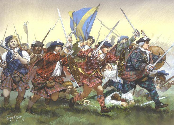 Charge of the Stewarts of Appin at Culloden, by Angus McBride ~ Courtesy of Ye Jacobite