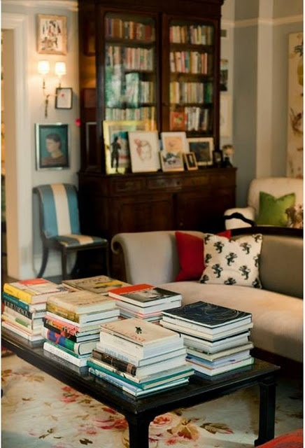once my kids are in HS this WILL be my coffee table! Andy and Kate Spade's home via Matchbook Mag. Holy books!
