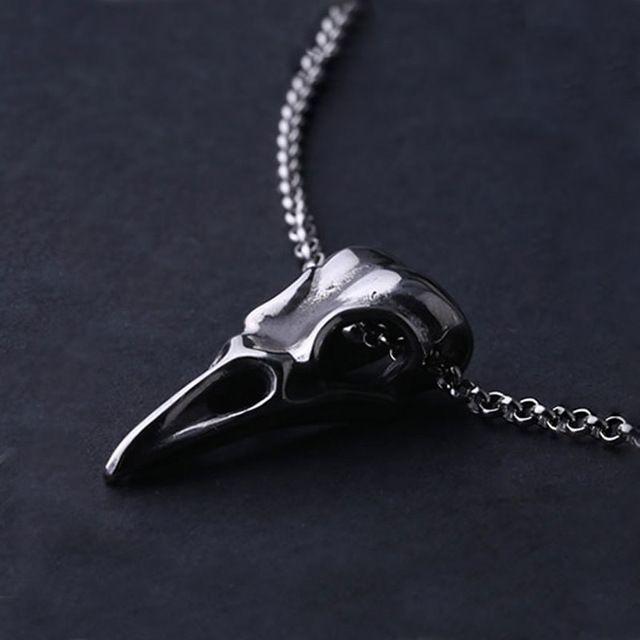 Высокое Качество Готические Мужчины Ювелирные Изделия Titanium Сталь Птица Глава Череп Ожерелье