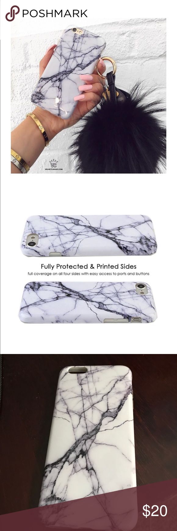 Marble Velvet Caviar IPhone 6plus/6s plus case White and dark gray marble iPhone 6 Plus/6s plus case! From Velvet Caviar. Has been used but is in perfect condition! One spot on inside of case as show in picture above, but would not be noticeable when using the case. Velvet Caviar Accessories Phone Cases