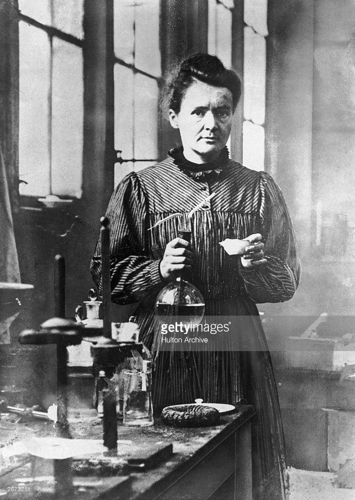 Marie Curie, French physicist and winner of the 1903 Nobel Prize for Physics, which she shared with her husband Pierre Curie. She was the first woman to win a Nobel Prize.