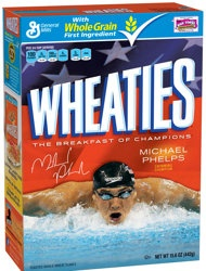 This image provided by General Mills shows a limited-edition box of Wheaties featuring Michael Phelps that was unveiled, Thursday, Aug. 16, 2012. With another six Olympic medals around his neck, swimmer Michael Phelps is once again touting the breakfast of champions. General Mills Inc. on Thursday unveiled limited-edition boxes of its Wheaties cereal featuring Phelps, who now holds a record 22 Olympic medals. Phelps was last featured on the box after the 2004 Olympics. (AP Phot