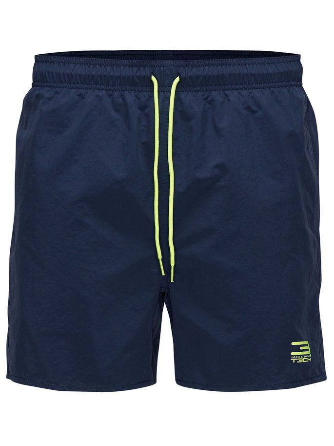 Classi swimshorts with inner briefs, in navy blue and contrasting neon yellow details   JACK & JONES