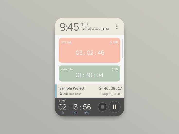 Time Tracker Widget by Martin David #UI