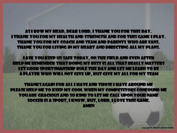 Soccer Player's prayer, athlete's prayer, soccer poem