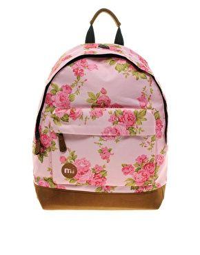 Mi Pac Floral Pink Rose Backpack