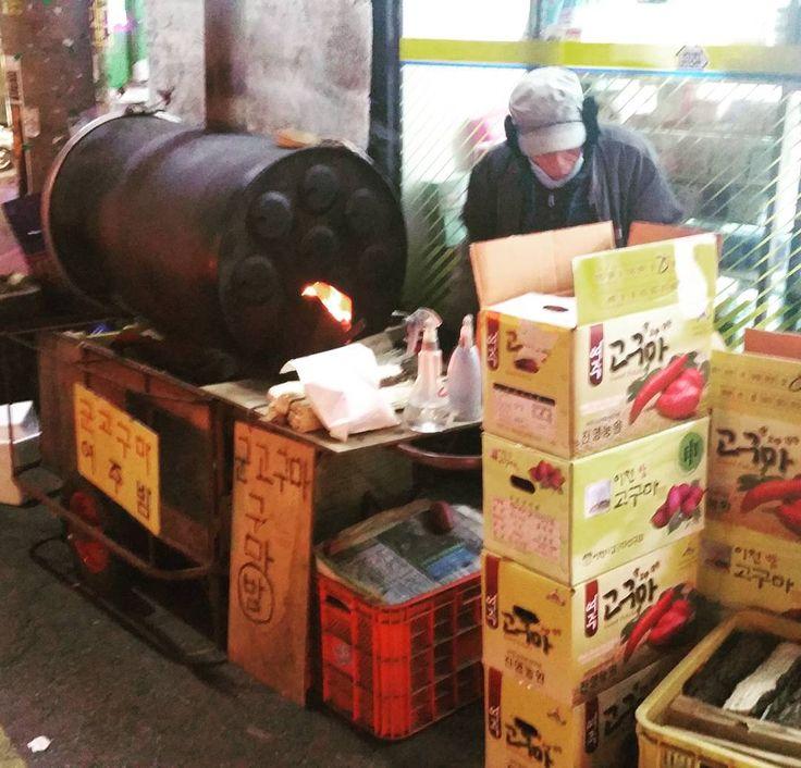 Sweet Potato roasted on the streets of Seoul  #streetfood #sweetpotato #korea #korean #winters