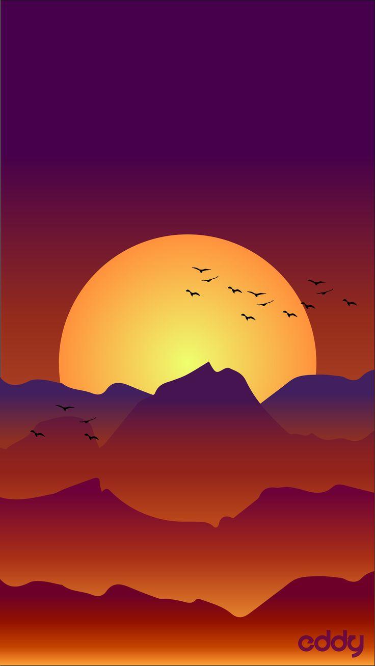 Trippy Iphone Wallpaper Vector Landscape Sunrise Illustrator Vector Sun