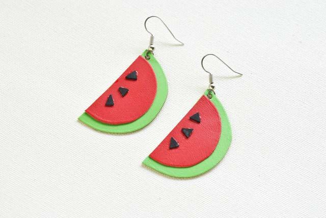 Watermelon Fruit Earrings, Leather Jewellery by spiritfiredesigns on Etsy